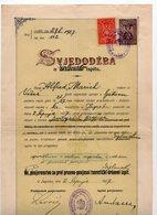 1927 YUGOSLAVIA, CROATIA, ZAGREB UNIVERSITY, FACULTY OF LAW, FIRST DIPLOMA EXAM, SVJEDODZBA, 2 REVENUE STAMPS - Diploma & School Reports