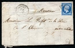 VILLEMONTAIS  (84) T. 22 + Petits Chiffres 3614 / 20 C Empire Non Dentelé Sur Lettre Pour St Etienne 1859 - 1853-1860 Napoléon III