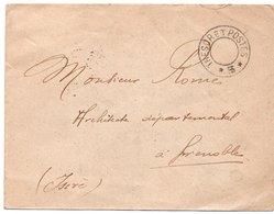LSC 1914 - Cachet Evidé - TRESOR Et POSTES 5  & Au Dos Cachet GRENOBLE (Isère) - Storia Postale