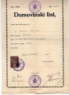 1927 YUGOSLAVIA, SLOVENIA, CERTIFICATE OF CITIZENSHIP, ISSUED IN KRANJ, DOMOVINSKI LIST, 1 REVENUE STAMP - Historical Documents