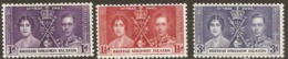 British Solomon Islands  1937  SG  57-9  Coronation  Mounted Mint - British Solomon Islands (...-1978)