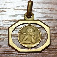 """Pendentif Médaille Religieuse Style Art Déco - Années 30 """"Ange De Raphaël - Angelot"""" - Religious Medal - Religion & Esotérisme"""