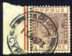 Cyprus Sc# 77 Used 1921-1923 1pi Violet & Carmine King George V - Zypern (...-1960)