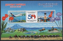 Turkey (2019)  - Block -  /  Joint With Mongolia - Flowers - Dress - Dances - Costumes - Avion - Airplane - Aircraft - Joint Issues