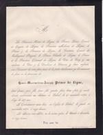 BELOEIL Henri-Maximilien Prince De LIGNE 47 Ans 1871 Faire-part Mortuaire De CROY - Décès