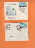 Deux Enveloppes 1er Jour. 5e Conférence Du Pacifique Sud Pago Pago . 1962 Nouvelle-Calédonie.cocotiers, Pirogue, Carte. - Briefe U. Dokumente