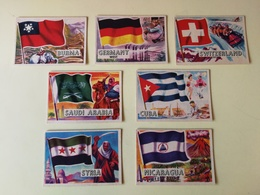 """7 GERMAN VERSION OF THE ENGLISH ABC/TOPPS """"FLAGS OF THE WORLD"""" SERIE. BUBBLE GUM CARDS 1966 - Confectionery & Biscuits"""