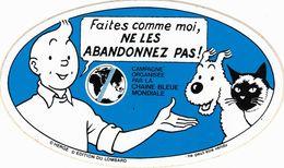 HERGE - TINTIN - AUTOCOLLANT CHAÎNE BLEUE - TRES BON ETAT. - Stickers