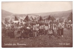 ROUMANIE Romania Salutari Din Romania Grup De Tigani Gypsies Corturi Cai Horse Kids - Rumänien