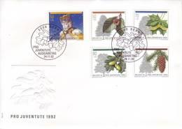 Svizzera 1992 - FDC Pro Juventute, Statuetta Del Presepio E Alberi Del Bosco - FDC