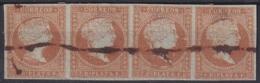 1855-182 CUBA ANTILLES SPAIN. Ed.3. 1855. 2r NARANJA PEN CANCEL BLOCK 4 - Cuba