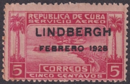 1928-127 CUBA REPUBLICA 1928 Ed.223. CHARLES LINDBERGH LIGERAS MANCHAS - Cuba