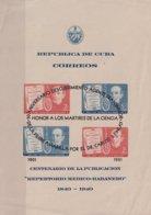 1951-335 CUBA 1951 HF REPERTORIO MEDICO BLACK SURCHARGE FINLAY YELLOW FEVER MEDICINE DEFECTO LIGERO DOBLEZ. - Cuba