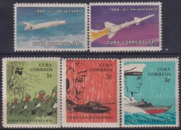 1966.127 CUBA 1966. Ed.1296-00. VII ANIV  REVOLUCION, ROCKET, AVION, BATTLESHIP. LIGERAS MANCHAS. - Cuba