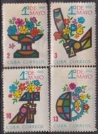 1966.130 CUBA 1966. Ed.1335-38. PRIMERO DE MAYO, LABOR DAY LIGERAS MANCHAS - Cuba