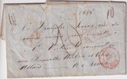 PREFI-723 CUBA STAMPLESS SANTIAGO BRITISH AGENCY 1848 MARITIME MAIL TO FRANCE. - Cuba
