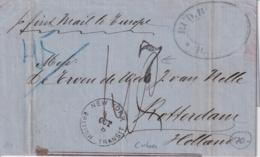 "PREFI-724 CUBA STAMPLESS HAVANA 1874 MARITIME MAIL TO NETHERLAND. NEW YORK BRITISH TRANSIT. "" FIRST MAIL TO EUROPA"". - Cuba"