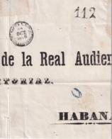 PREFI-725 CUBA SPAIN FRONT COVER STAMPLESS SAGUA LA GRANDE BAEZA BLACK 1856. 112 Rs. - Cuba