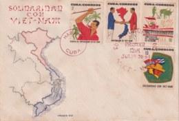 """1964-FDC-52 CUBA FDC 1964 VIETNAM ERROR """"SIN LA PALANCA DE LA COSECHADORA - FDC"""