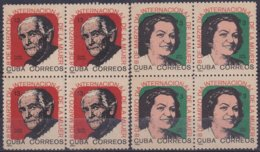1965.139 CUBA 1965. Ed.1171-72. DIA INTERNACIONAL DE LA MUJER. WOMAN DAY. BLOCK 4. LIGERAS MANCHAS. - Cuba