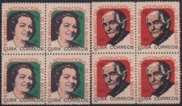 1965.140 CUBA 1965. Ed.1171-72. DIA INTERNACIONAL DE LA MUJER. WOMAN DAY. BLOCK 4. LIGERAS MANCHAS. - Cuba
