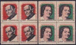 1965.141 CUBA 1965. Ed.1171-72. DIA INTERNACIONAL DE LA MUJER. WOMAN DAY. BLOCK 4. LIGERAS MANCHAS - Cuba