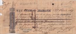E6366 CUBA SPAIN 1869 LETTER BANK CHECK M. RIQUELME & Co + FRANCE REVENUE NAPOLEON III 25c. - Cheques & Traverler's Cheques
