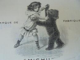 """L'OURS - FUERTH, BAVIERE, 1911 - FABRIQUE DE JOUETS EN PELUCHE, OURS """"MICHU"""", FLEISCHMANN ET PLOEDEL - Francia"""