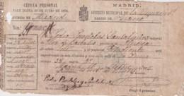 E6373 ESPAÑA SPAIN CEDULA PERSONAL 1875. REVENUE CARGO MUNICIPAL. - Manuscripts