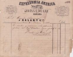 E6376 CUBA SPAIN 1863 TRANSPORT TO ARRATIA SUGAR MILLS ENGRAVING INVOICE EXPRESO DE LA AMERICA. - Manuscripts