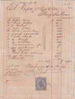 REC-13 CUBA SPAIN (LG1728) 1877. SHIP MATILDE INVOICE, REVENUE RECIBOS Y CUENTAS. - Manuscripts