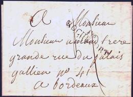 France 1814, 22 Juin, Lettre De 16 Rochefort Pour Bordeaux, Full Letter - Poststempel (Briefe)