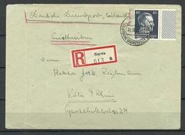 Deutshe Dienstpost Ostland Estland Estonia 1943 Registered Letter From Narva To Köln Michel 18 As Single - Estonie