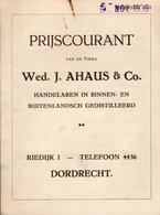 Prijscourant Nov. 1936 Van De Firma Wed. J. Ahaus & Co. Handelaren In Binnen En Buitenlandsch Gedistilleerd Dordrecht - Cuisine & Vins