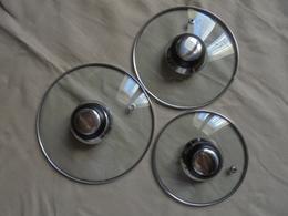 Occasion - 3 Couvercles En Verre Pour Petites Marmites/casseroles - Dishware, Glassware, & Cutlery