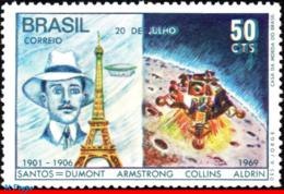 Ref. BR-1138 BRAZIL 1969 SPACE EXPLORATION, MAN'S FIRST LANDING ON, THE MOON, SANTOS DUMONT, MI# 1231, MNH 1V Sc# 1138 - Space