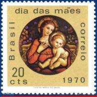 Ref. BR-1163 BRAZIL 1970 MOTHER�S DAY, MADONNA, FROM SAN ANTONIO, MONASTERY, RJ, PAINTING, MI# 1256, MNH 1V Sc# 1163 - Brasilien
