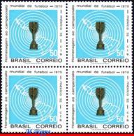 Ref. BR-1166-Q BRAZIL 1970 FOOTBALL SOCCER, WORLD CUP CHAMPIONSHIP,, MEXICO, FLAG, MI# 1260, MNH 4V Sc# 1166 - Brésil