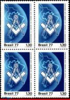 Ref. BR-1517-Q BRAZIL 1977 FREEMASONRY, MASONIC, MAPS, MASONRY,, MASONIC SHOP, MI# 1608, BLOCK MNH 4V Sc# 1517 - Brésil