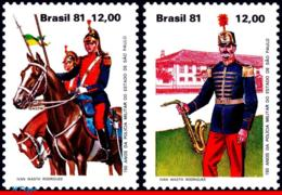 Ref. BR-1779-80 BRAZIL 1981 POLICE, MILITARY POLICE OF SP,150, ANNIV., HORSES, COSTUMES, SET MNH 2V Sc# 1779-1780 - Brésil