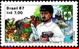 Ref. BR-2124 BRAZIL 1987 - GABRIEL S. DE SOUSA,, TREATISE, CATS, FISH, SHIPS, MNH, FAMOUS PEOPLE 1V Sc# 2124 - Poissons