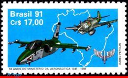 Ref. BR-2300 BRAZIL 1991 PLANES, AVIATION, MINISTRY OF AVIATION,, MI# 2398, MNH 1V Sc# 2300 - Brésil