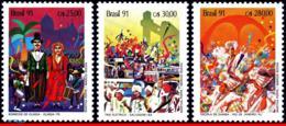 Ref. BR-2301-03 BRAZIL 1991 MUSIC, CARNIVAL, OLINDA, RIO &, SALVADOR, DANCE, MI# 2399-01, MNH 3V Sc# 2301-2303 - Brésil