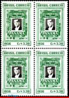 Ref. BR-843-Q BRAZIL 1956 FAMOUS PEOPLE, PRESIDENT JUSCELINO, KUBITSCHEK, CONFERENCE PANAMA,BLOCK MNH 4V Sc# 843 - Blocks & Kleinbögen