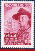 Ref. BR-C87 BRAZIL 1957 FAMOUS PEOPLE, LORD BADEN-POWELL, CENT., ANNIV., SCOUTING, COATS OF ARMS, MNH 1V Sc# C87 - Unused Stamps
