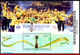 Ref. BR-V2016-10 BRAZIL 2016 SPORTS, TRIBUTE FEMALE HANDBALL,, WORLD CHAMPION IN 2013, S/S MNH 1V - Handball