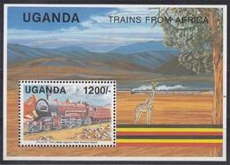 Uganda MiNr. Bl. 132 ** Lokomotiven Afrikanischer Eisenbahngesellschaften - Uganda (1962-...)