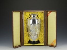 Japanese Handmade Sterling Silver Carved Gold Peony Vase - Arte Orientale
