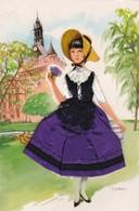 CPM, Carte Postale Illustrée Avec Tissu, Costume Régional Brodé, Toulouse, La Toulousaine - Costumes