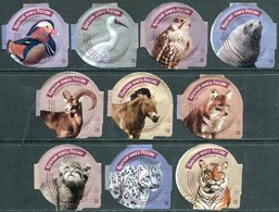 Russia 10 Coffee Cream Labels Animals Red Book PROTECTED FAUNA Birds Walrus Altai Argali Horse Wolf Wild Cats Rote Liste - Koffiemelk-bekertjes